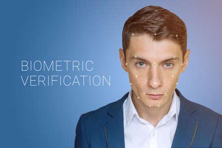 biometric: Biometric verification - man face recognition