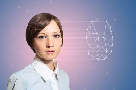 weryfikacja biometryczna - kobieta, wykrywanie twarzy, zaawansowanych technologii Zdjęcie Seryjne