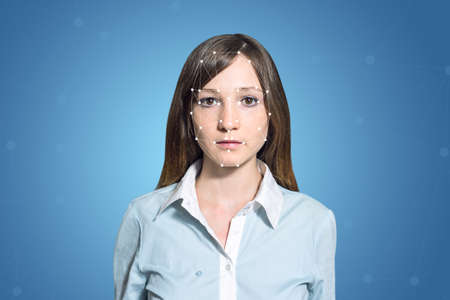 biometric: Biometric verification - woman face detection, high technology