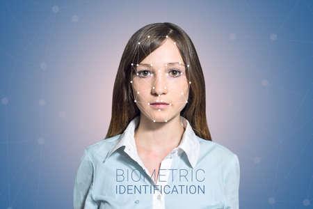 Biometric verification - woman face detection, high technology