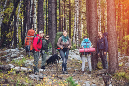 turismo ecologico: group of friends with a backpacks going up the path in the mountain forest, the concept of ecological active tourism Foto de archivo