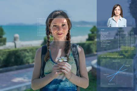 Erkenning van een vrouwelijk gezicht door een gaas te leggen en de berekening van de persoonsgegevens door de software. Biometrische verificatie en identificatie