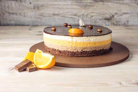 Orange chocolate cake with layers of delicate souffle, a Delicious homemade dessert
