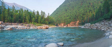 pine creek: Beautiful view of mountain river among the trees of the forest and rocks on the background peaks