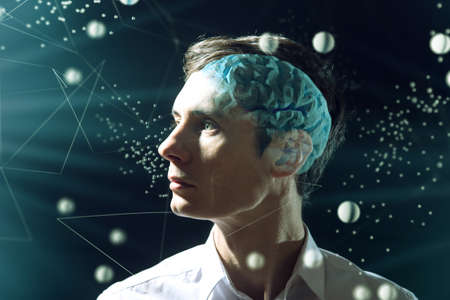 The mans head businessman with digital brain and the grid connections of neurons. The concept of artificial intelligence and the limitless possibilities of the mind Stock Photo