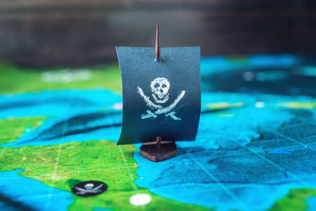 Toy boat pirate flag skull and bones on the world map of the toy boat pirate flag skull and bones on the world map of the playing field handmade gumiabroncs Images