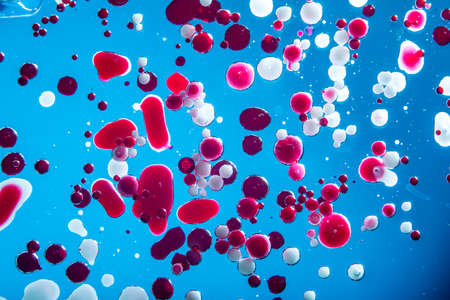 Red bubbles of blood cells on a blue background closeup. Abstraction of medicine and science. The concept of micro processes and diseases in the human body