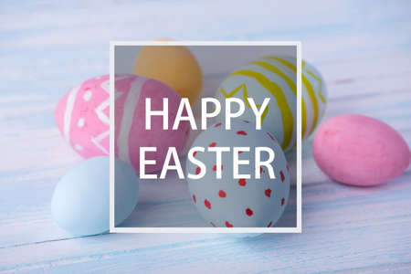 Beautiful holiday greeting card with text happy Easter Banque d'images