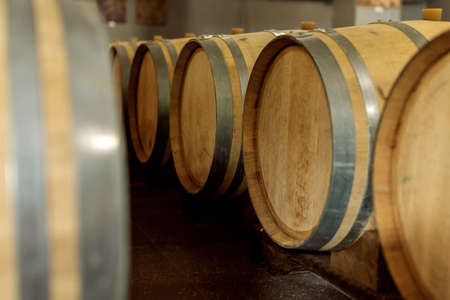 Wine oak barrels in which red wine is aged in the cellar of the winery. The concept of the production of wine Stock Photo