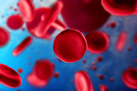 3d illustration of red blood cells erythrocytes close-up under a microscope. Background for scientific medical concept. Stock Photo