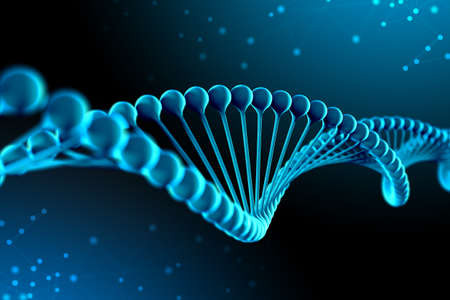 3d Illustration of DNA molecule. The helical molecule of a nucleotide in the environment of the organism like in space. The concept genome and modification of the body