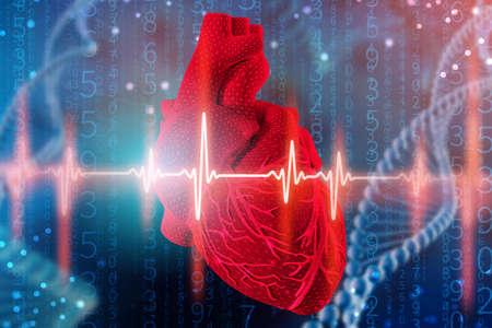 Illustrazione 3d del cuore umano e del cardiogramma con modellazione della trama a rete su sfondo blu futuristico astratto. Concetto di tecnologie digitali in medicina