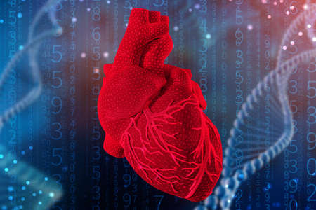 3d illustration of human heart with mesh texture modeling on abstract futuristic blue background. Concept of digital technologies in medicine
