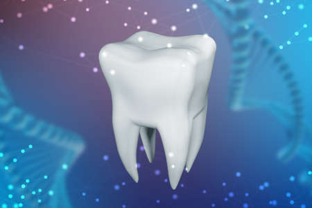 3d illustration of a human tooth on a blue abstract background. The concept of technology in dentistry Stock Photo