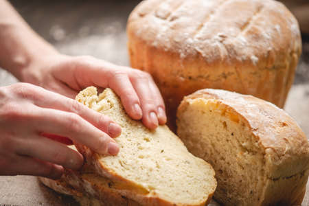 Womens hands breaking homemade natural fresh bread with a Golden crust on a napkin on an old wooden background. The concept of baking bakery products