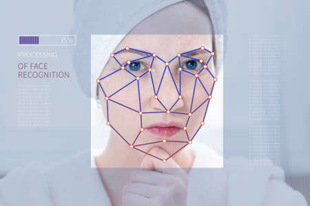 Biometric verification of a modern young woman. The Concept of a new technology of face recognition on polygonal grid is constructed in the points.