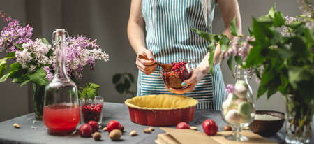 Cooking homemade cranberry pie. In the baking dish with the dough, put a spoon of fresh cranberries. Table with bright ingredients in spring style with flowers Stock Photo
