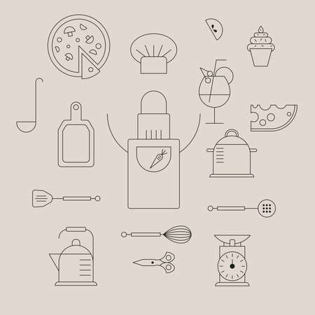 Culinary products, and kitchen outlines icon set over beige background.
