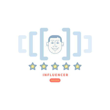 Illustration-concept symbol, five star social influencer .