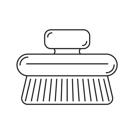 Natural spa home body brush. The icon is a black line on a white background. Vetores