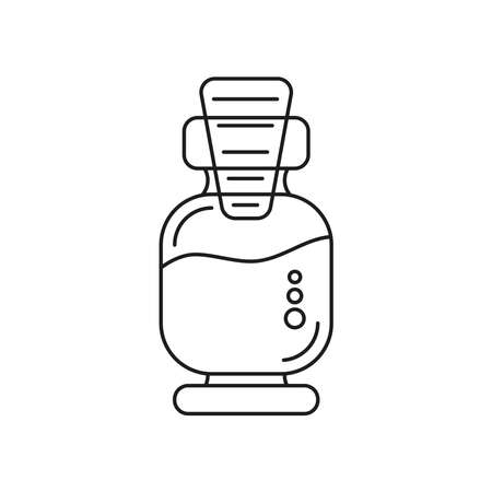 Glass bottle with cork cap for cosmetic oil liquids. Icon on a white background.