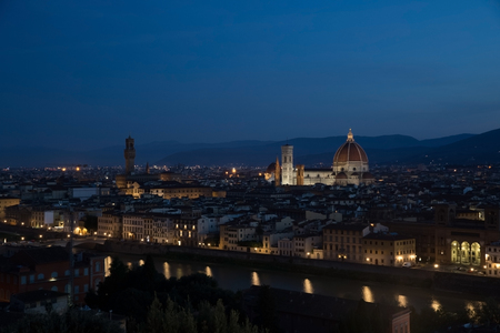 Early morning Florence landscape. There is Cathedral of Saint Mary of the Flower Cattedrale di Santa Maria del Fiore in night lights on the background. Stok Fotoğraf