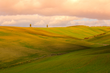 Evening landscape with Tuscany hills