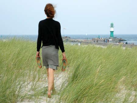 walking zone: To the sea Stock Photo