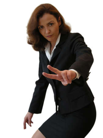 Peace - Businesswoman showing the victory sign Stock Photo - 8708321