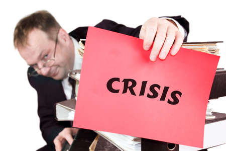 administratively: Crisis - The man is holding a red sheet on which he says the crisis Stock Photo