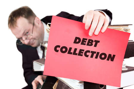 Debt Collection - The man is holding a red sheet on which he announced that he is insolvent Stock Photo
