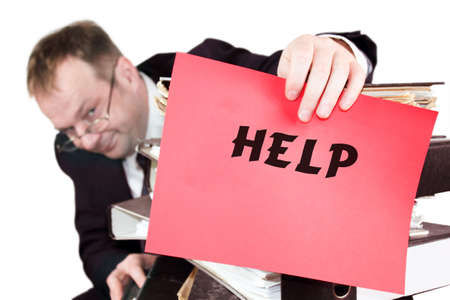 Help - The man is holding a red sheet of paper on which he announces that he needs help