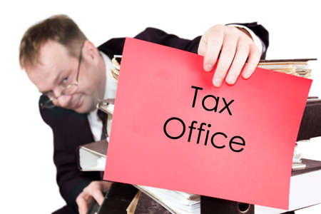 introduces: Tax Office - The man is holding a red sheet on which he introduces himself as an employee of the Tax Office