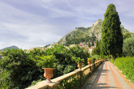 Public garden in Taormina, Sicily photo