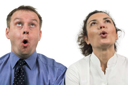 Ooh... astonished faces looking up Stock Photo - 8807481
