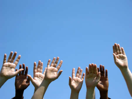cohesion: Cohesion - eight hands are lifted into the sky