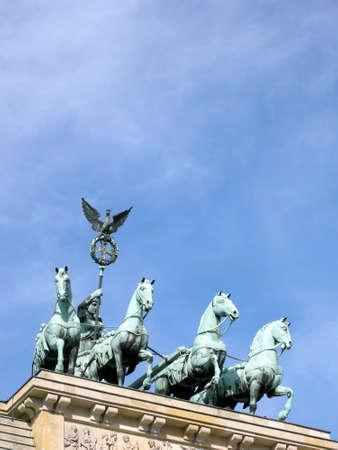 quadriga: Quadriga of the Brandenburg Gate in Berlin Stock Photo