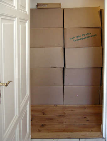 Moving boxes - Moving boxes stacked in the hallway Stock Photo - 10745768