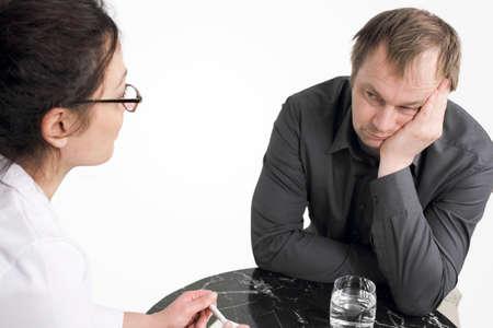 n�vrose: Psychoth�rapie - patient se sent pas le d�sir d'ouvrir Banque d'images