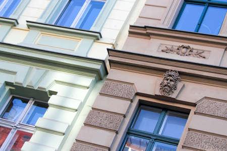 stucco facade: Facciate stucco - dettaglio molto bello con stucco sulla facciata Archivio Fotografico