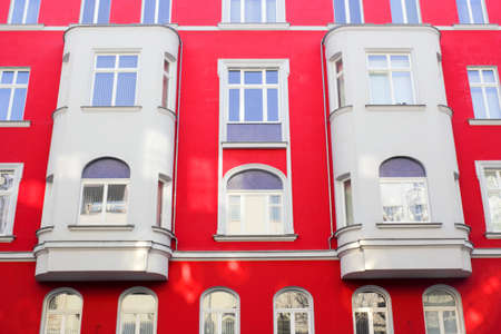 Red old facade in Berlin, Germany photo