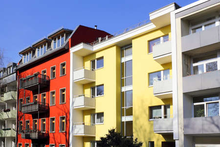 new construction renovation: Colorful facades in Berlin, Germany