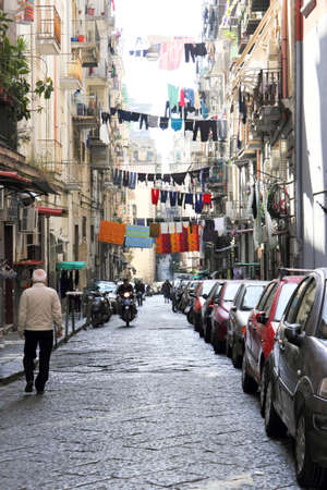 Old Town Street in Naples, Italy