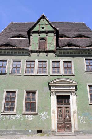 daubed: Old house in Halle (Saale), Germany