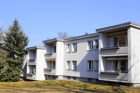 social apartment: Modern apartment block Stock Photo