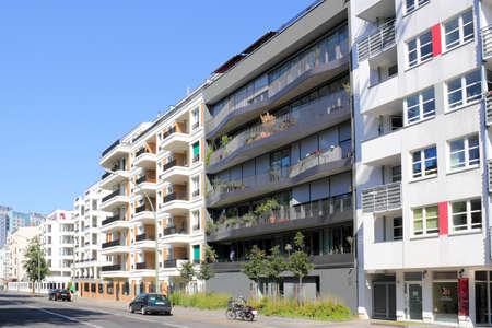 Modern houses line in Berlin Friedrichshain photo