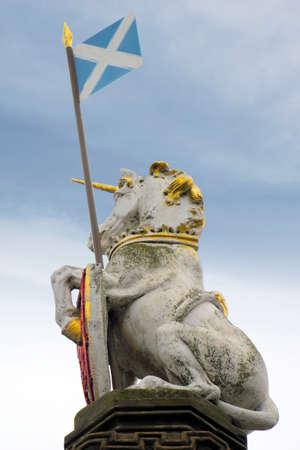scottish flag: Unicorno con la Scozia Bandiera