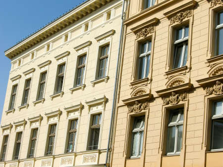 stucco facade: Restored buildings