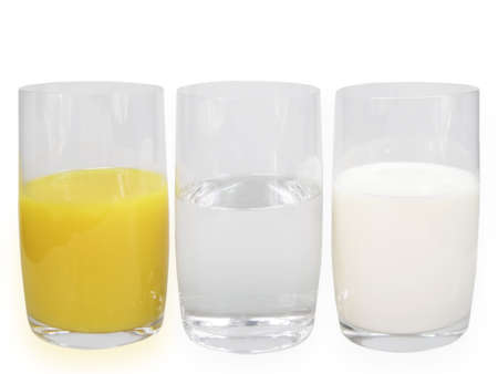 calorie rich food: Orange juice, water and milk on white background Stock Photo