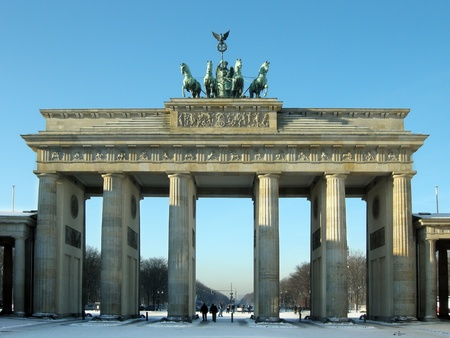 brandenburg gate: Brandenburg Gate in Winter Stock Photo